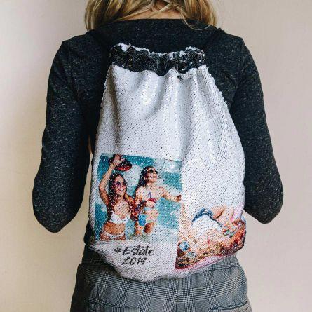 Zainetto a Sacca con Paillettes Personalizzabile con Testo e 2 Foto