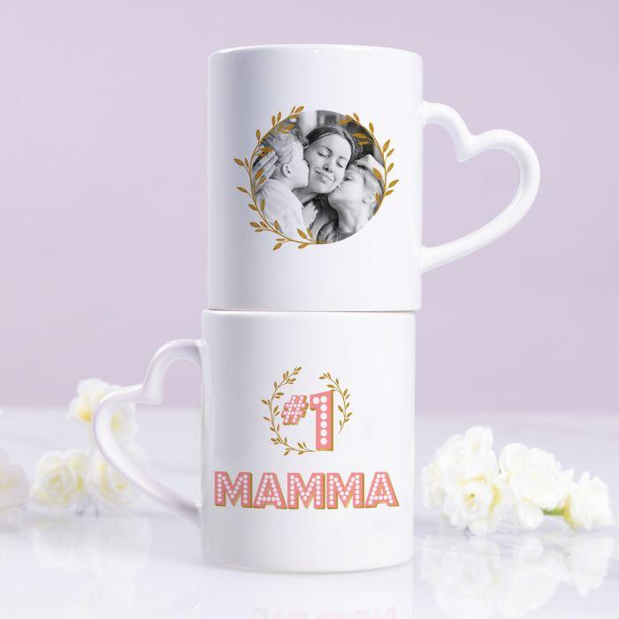 Tazza Migliore Mamma con Manico a forma di Cuore e Foto