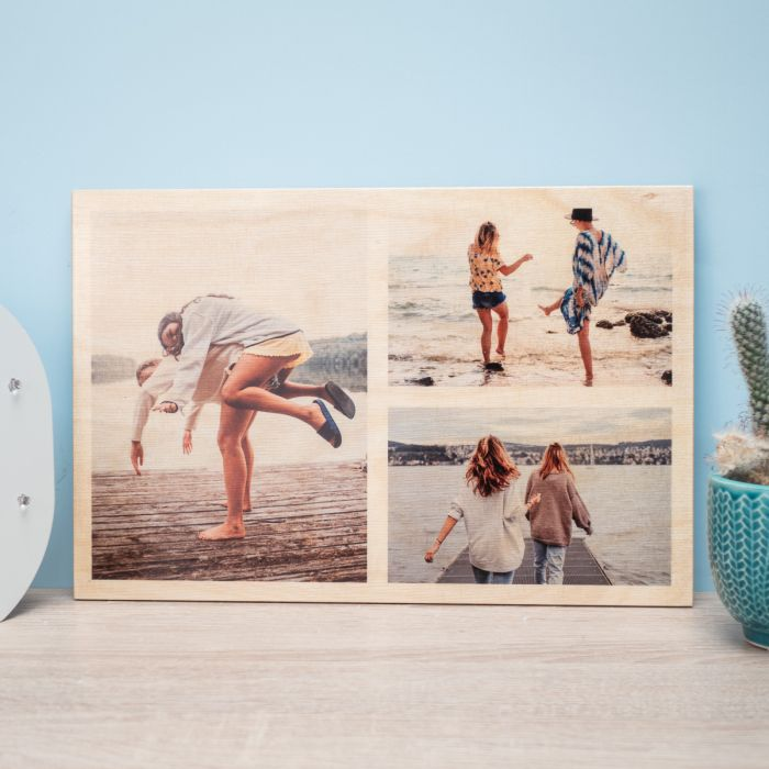 3 foto su legno personalizzabili