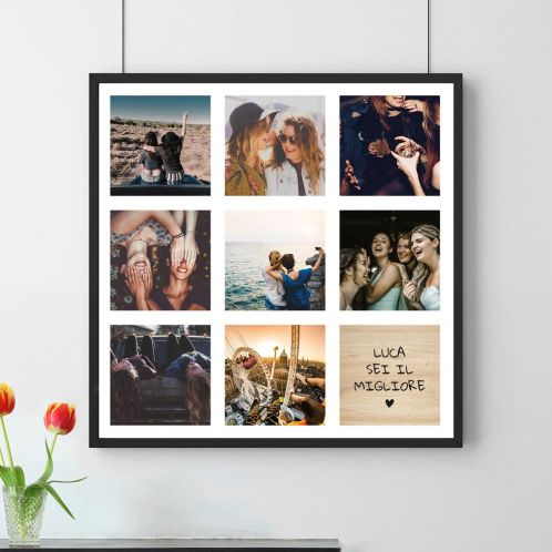 Poster personalizzabile con 8 foto e testo