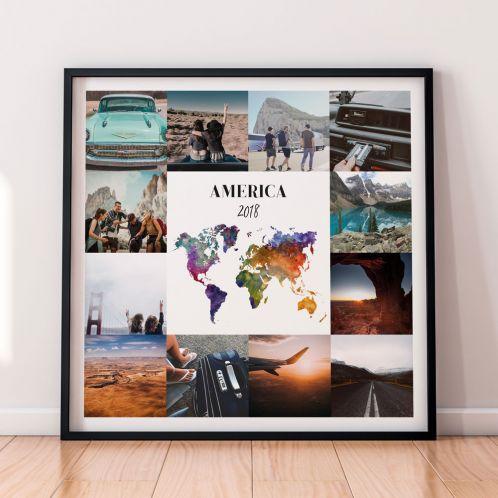 Poster di viaggio personalizzabile con 12 foto
