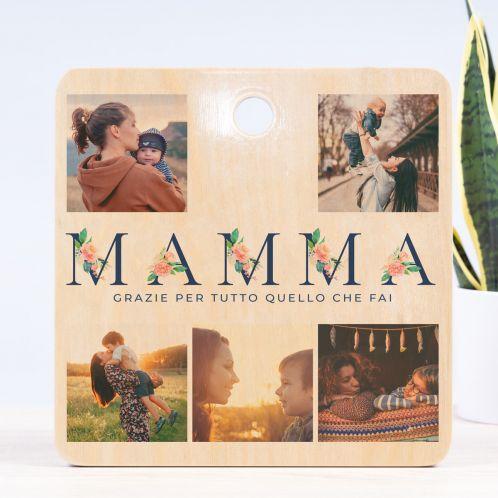 Tagliere Mamma con 5 Immagini e Testo
