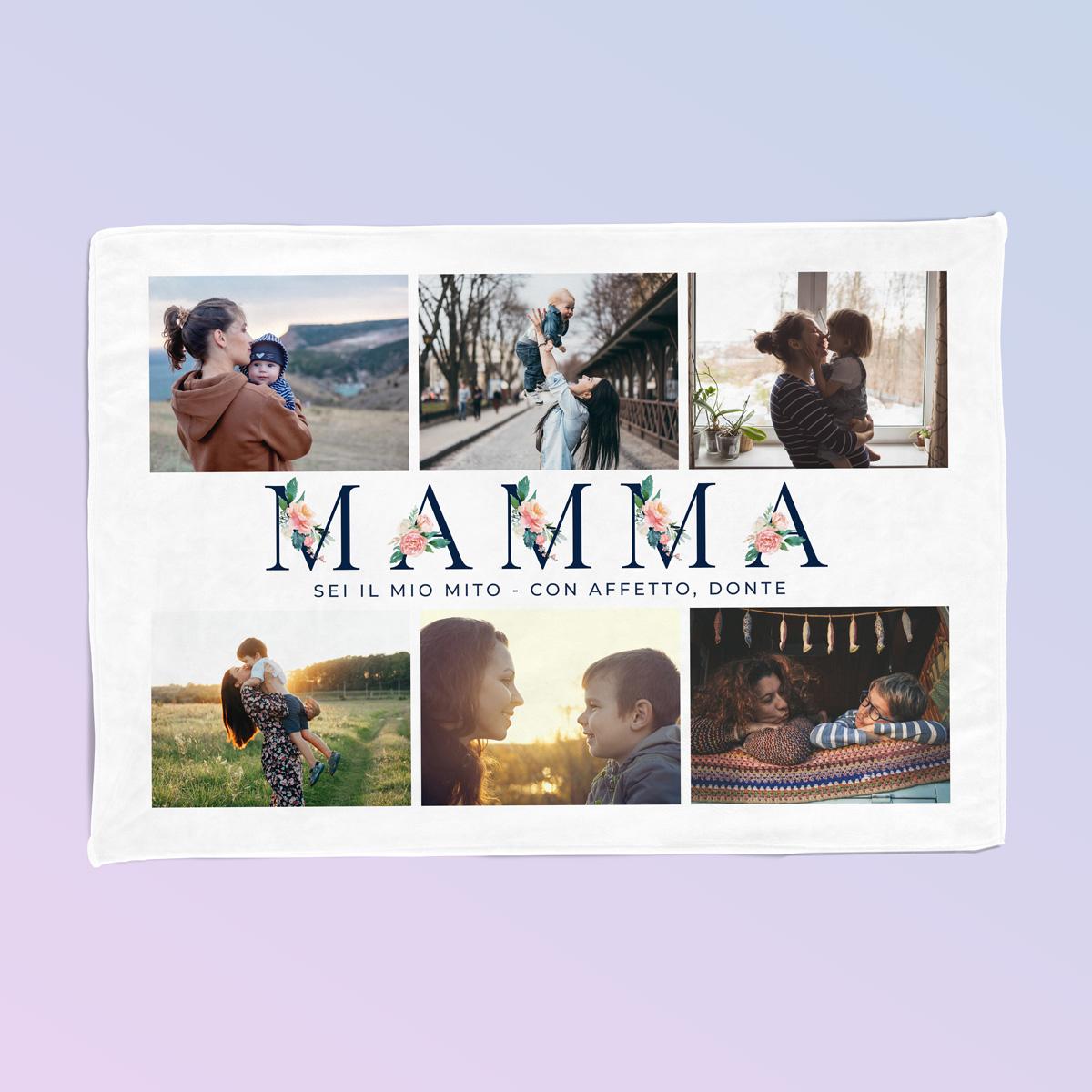 Coperta Mamma con 6 Immagini e Testo