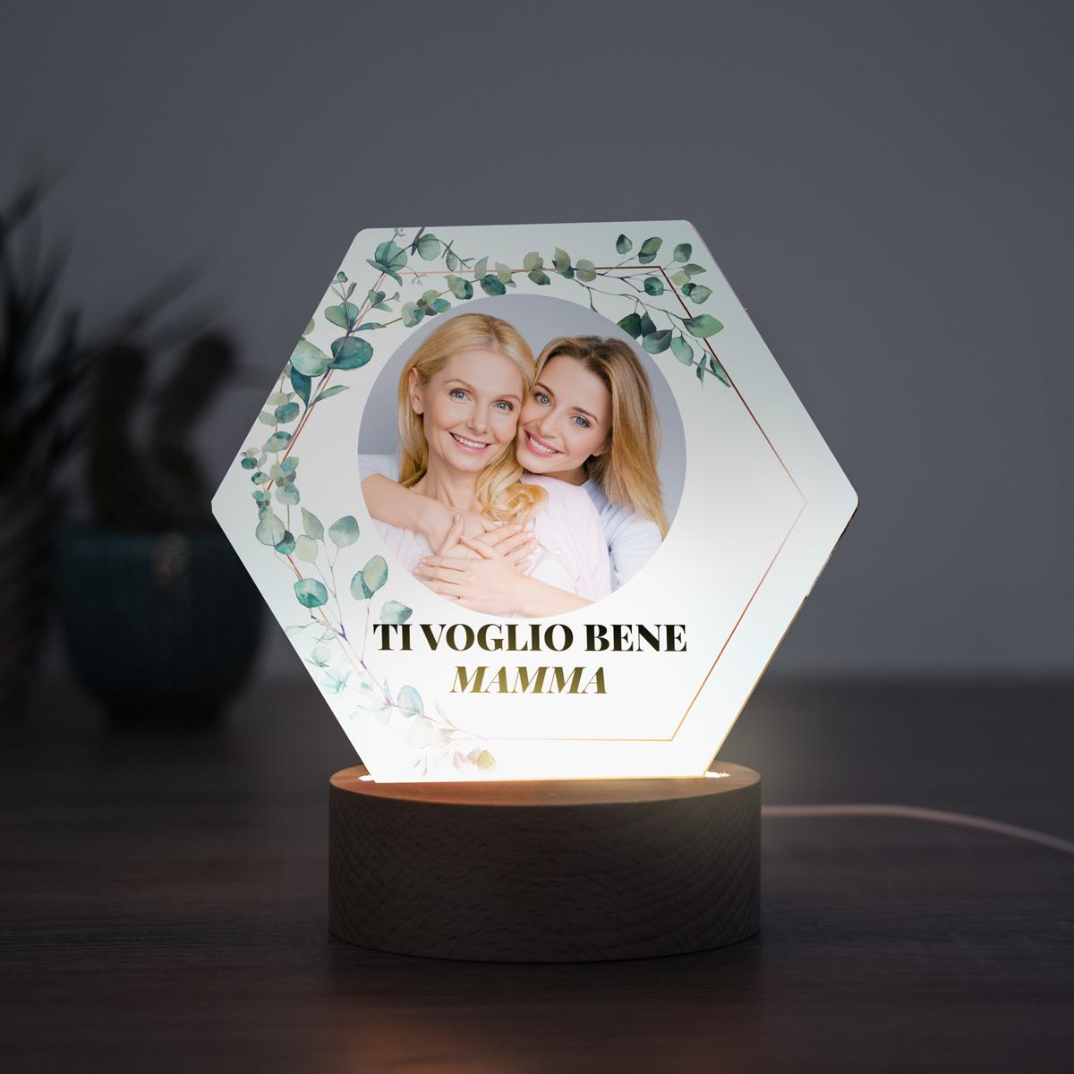 regali per la mamma lampada LED con foglie, foto e testo