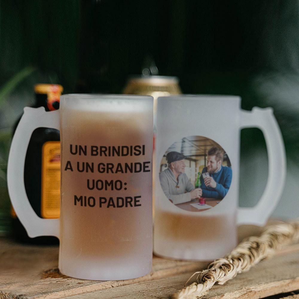 regali per il papà boccale da birra personalizzabile con foto e testo