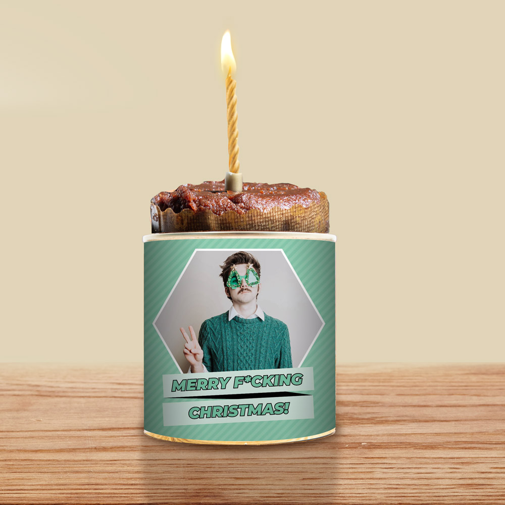 regali di natale per lui torta in lattina con foto e testo