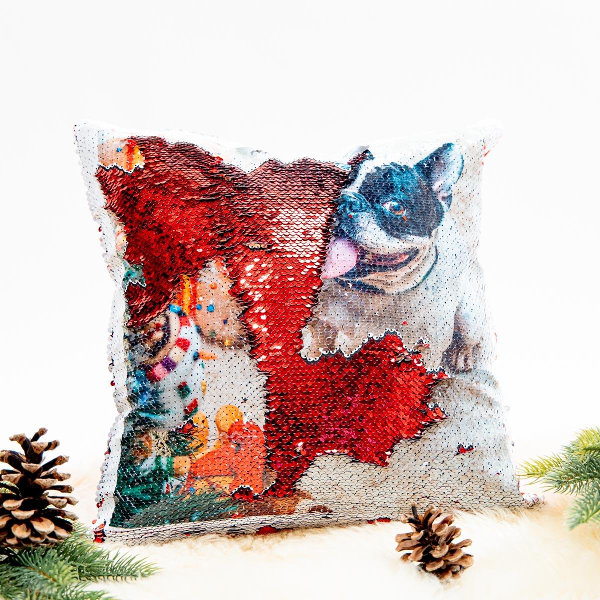 regali per amanti degli animali cuscino con paillettes e foto
