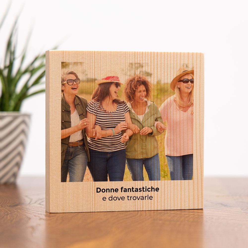 regali per la festa della donna quadro in legno quadrato con foto e testo