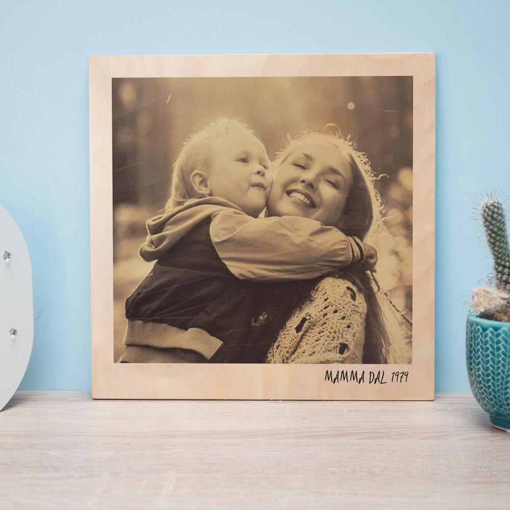 regali per la mamma quadro in legno in stile polaroid personalizzabile