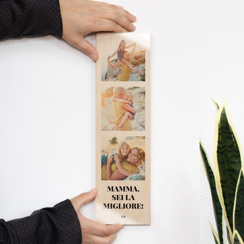 regali per la mamma quadro in legno lungo con 3 foto e testo