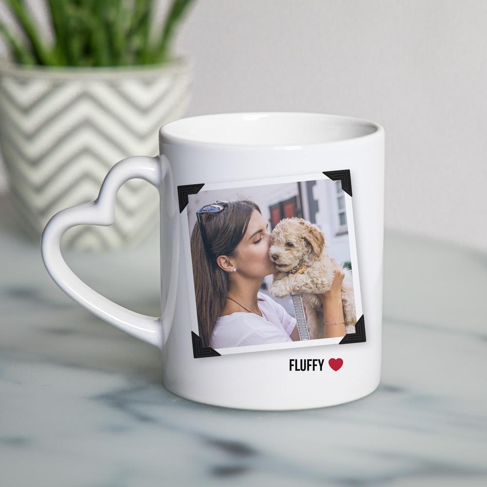regali per amanti degli animali tazza manico a cuore personalizzata con foto