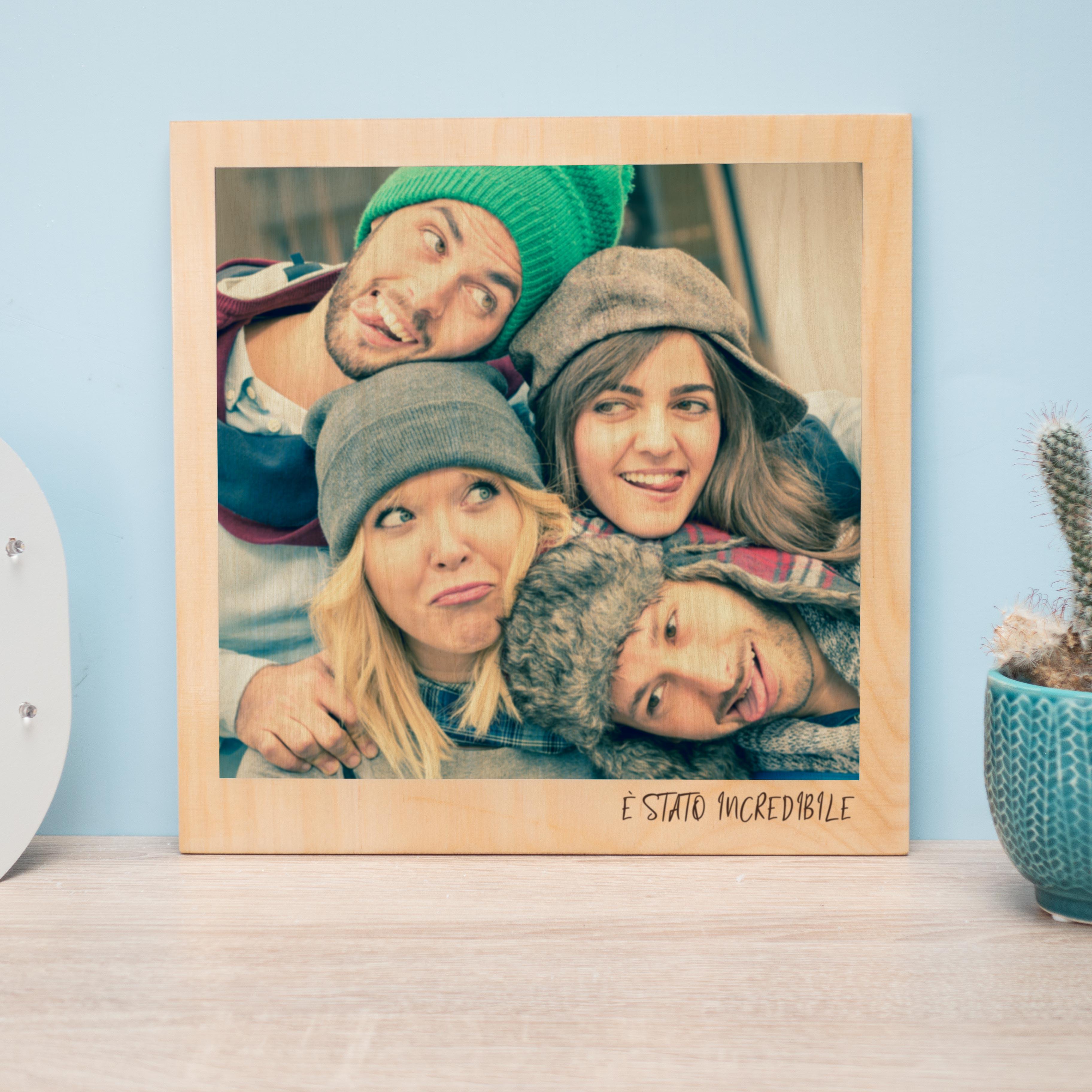 regali di natale immagine su legno personalizzabile in stile polaroid