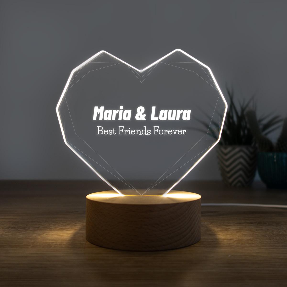 regali per un'amica o per la fidanzata lampada LED con cuore e testo personalizzato
