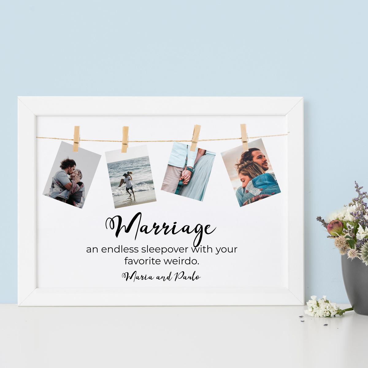 regali per l'anniversario di matrimonio poster con foto appese e testo