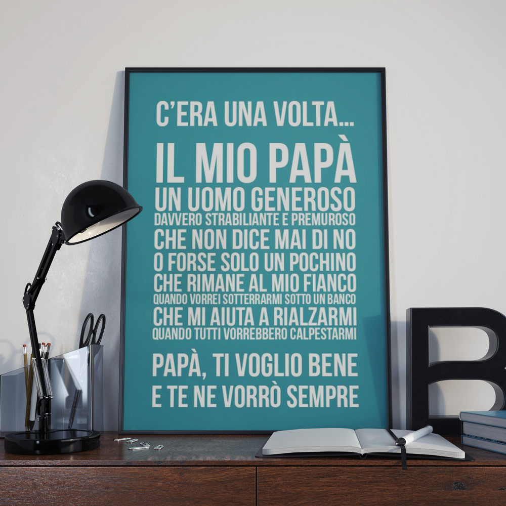 regali per il papà poster personalizzabile c'era una volta