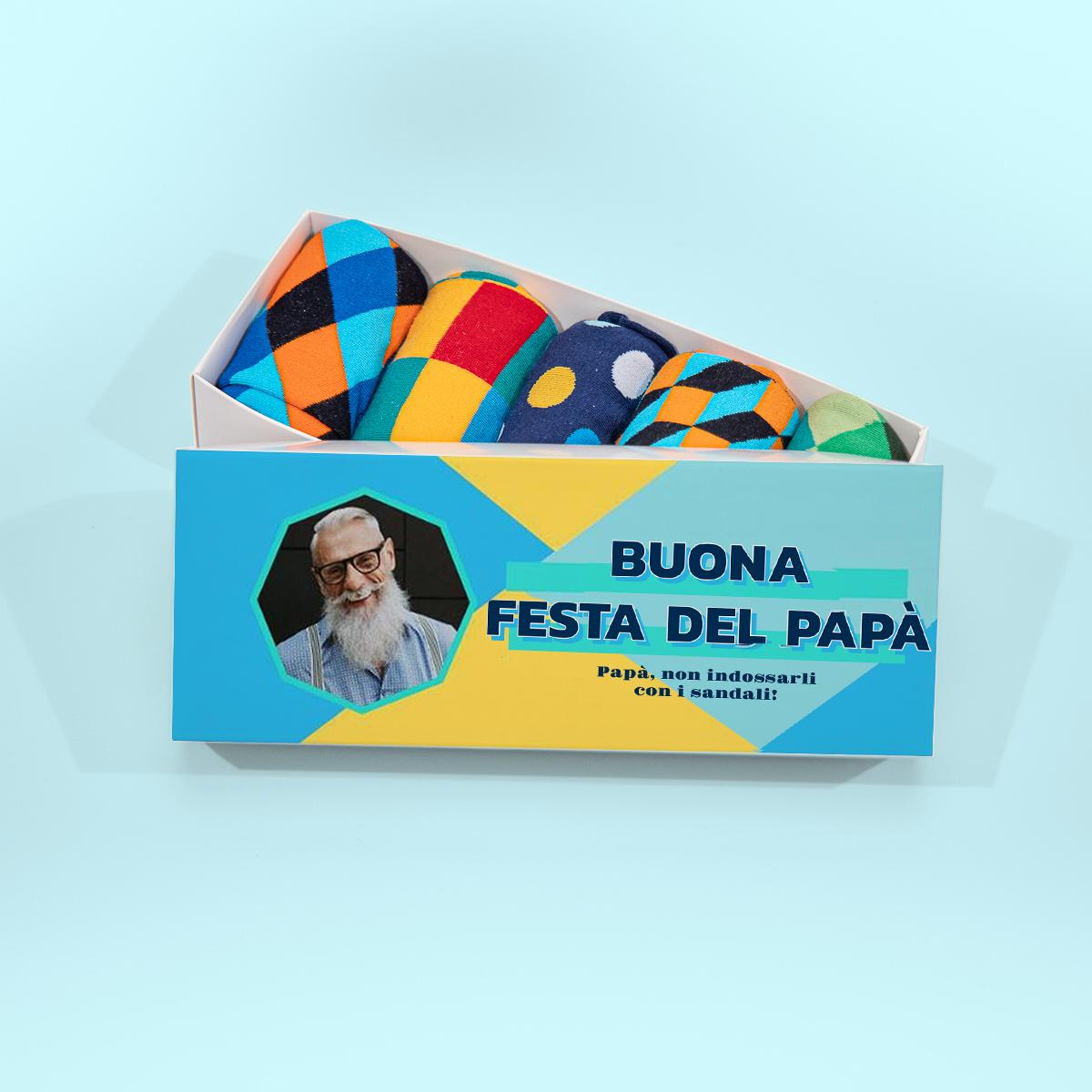 regali per il papà scatola di calzini con foto e testo