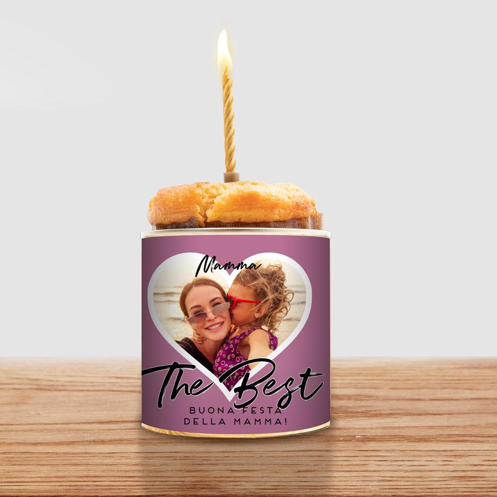regali per la mamma torta in lattina con cuore, foto e testo