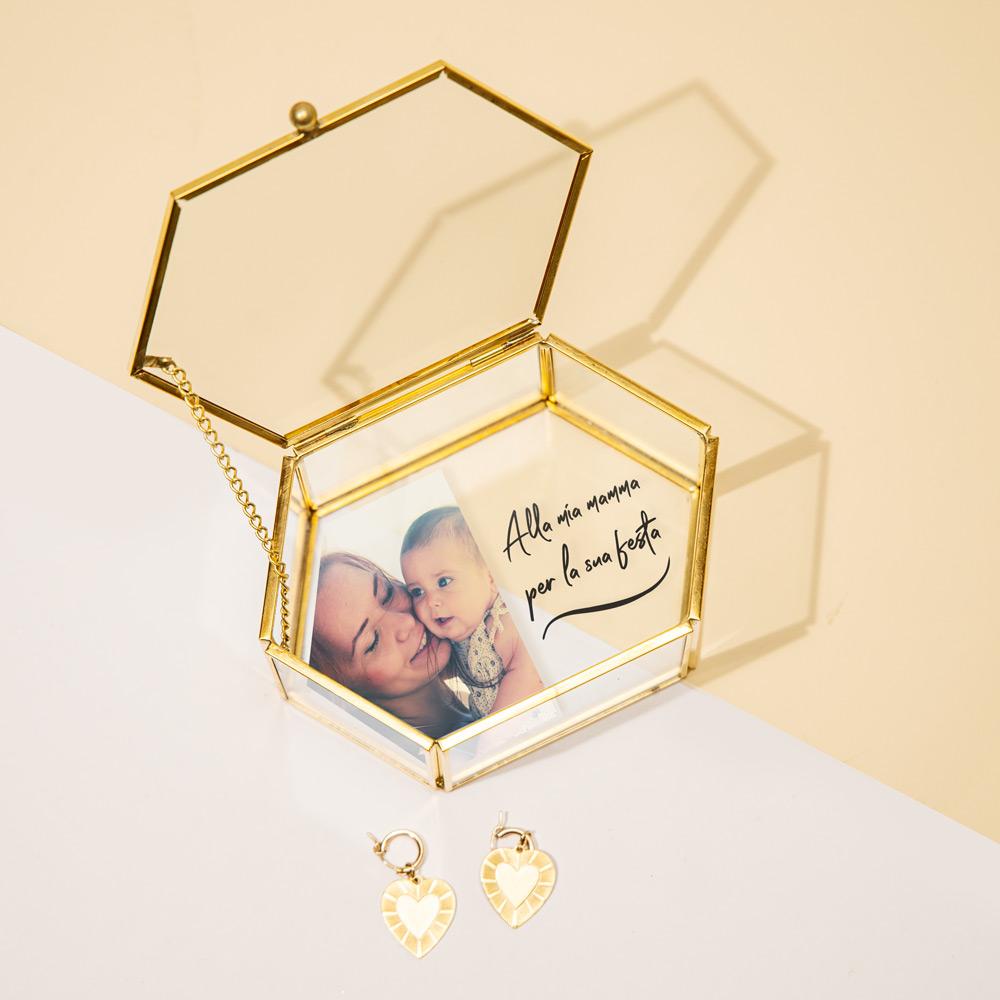 regali per la mamma scatola regalo in vetro con foto e testo