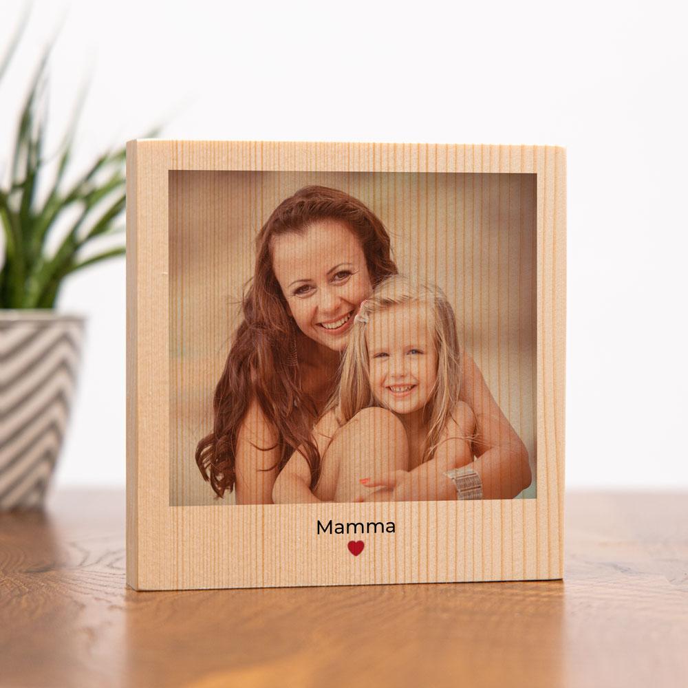 regali per la mamma quadro in legno quadrato con foto e testo
