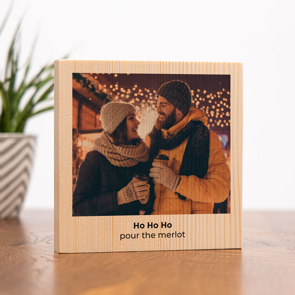 regali di natale quadro in legno quadrato con foto e testo