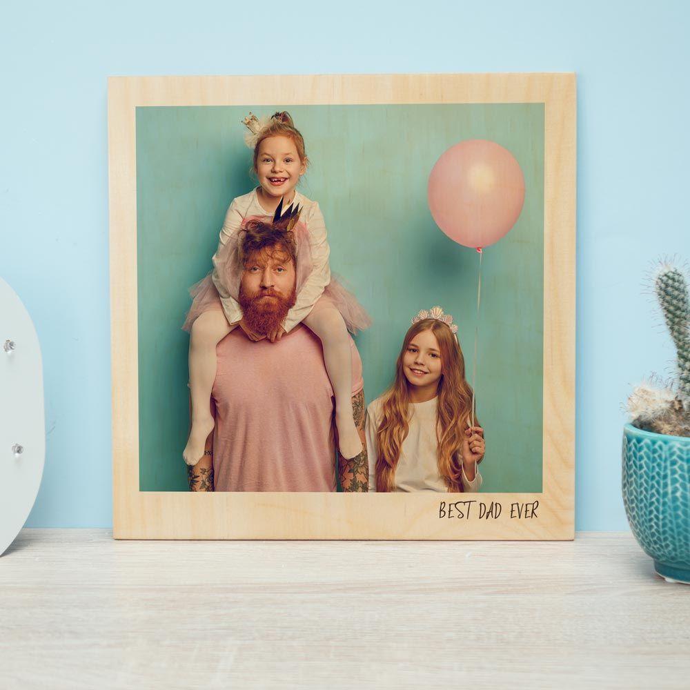 Regali per il Papà Immagine su legno personalizzabile in stile Polaroid
