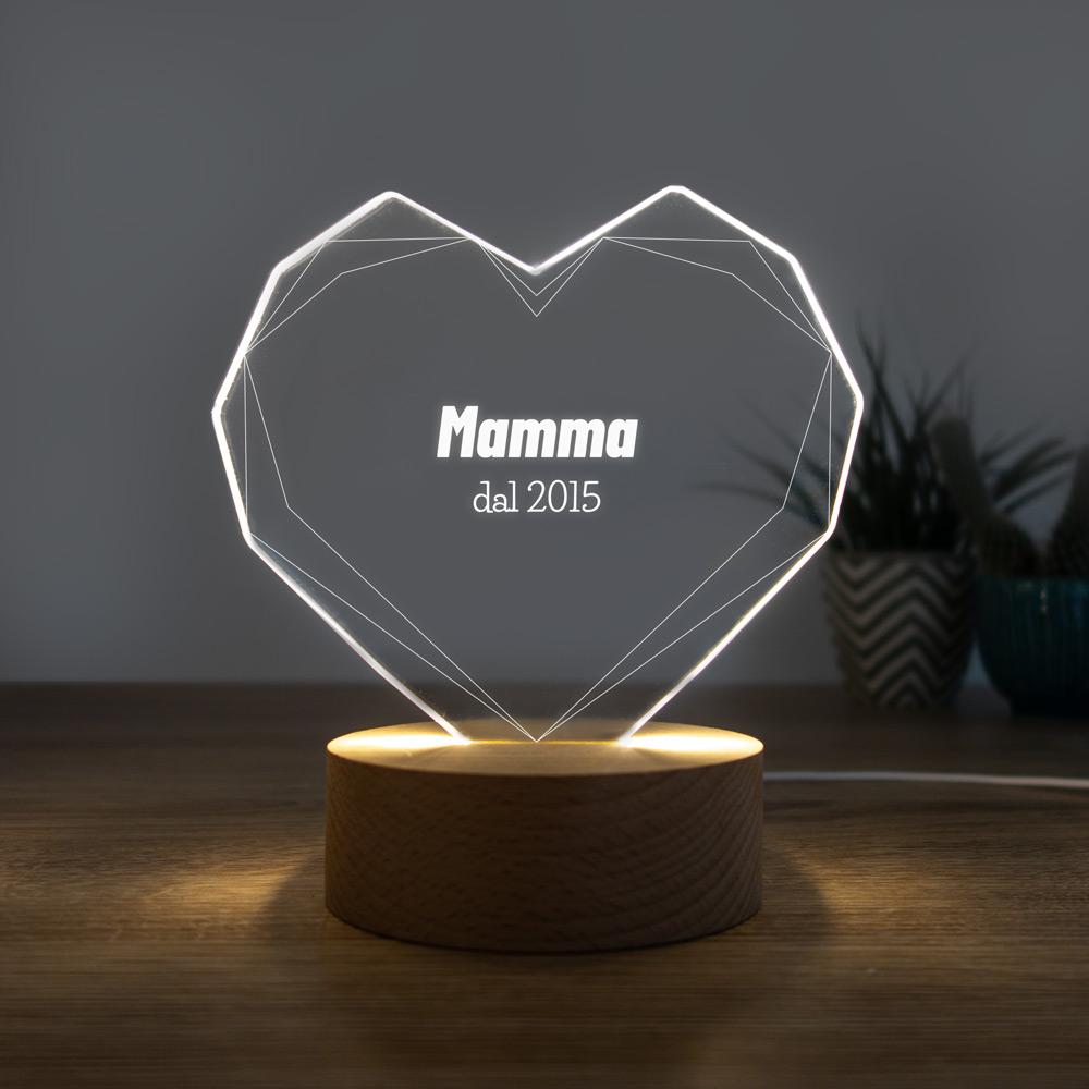 regali per la mamma lampada led cuore con testo