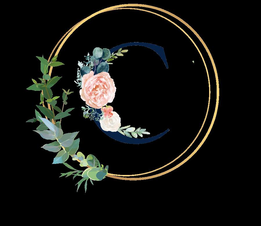 Bademantel Blumen Monogramm und Text - C