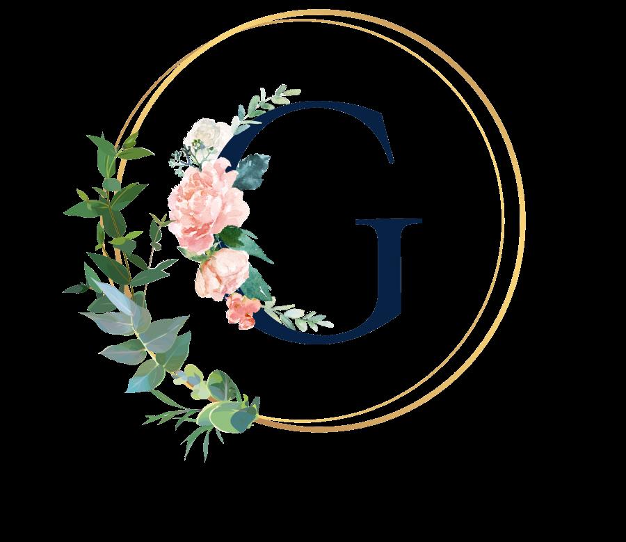 Bademantel Blumen Monogramm und Text - G