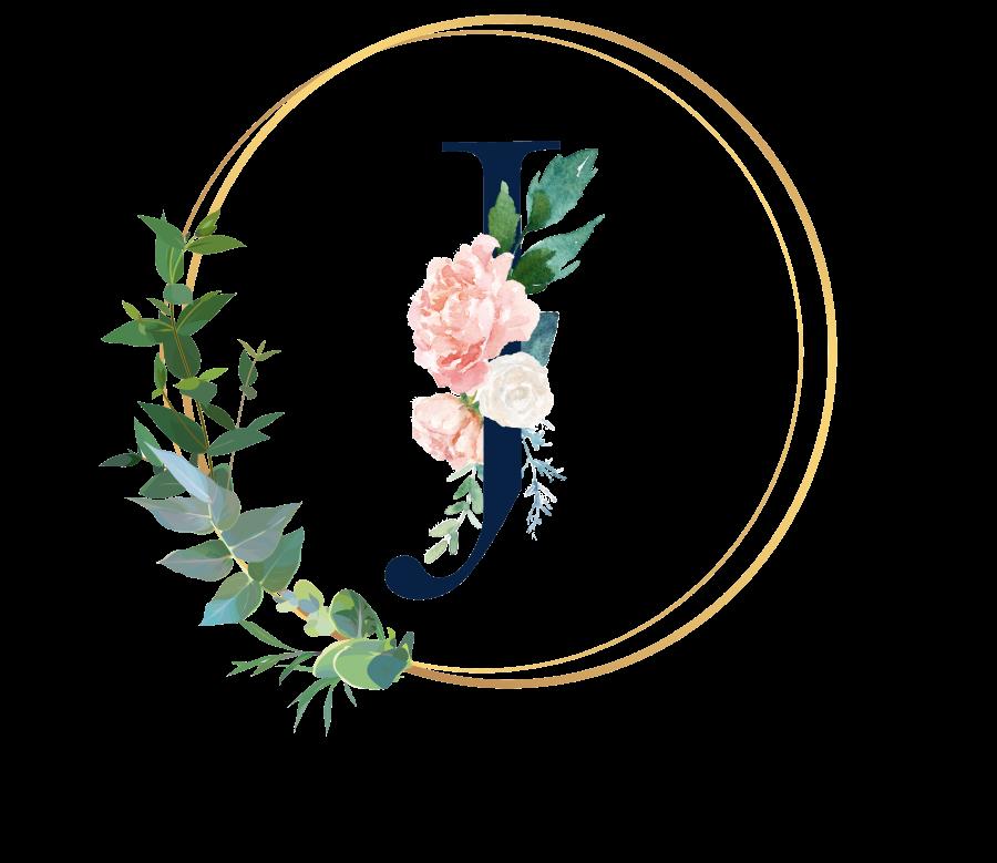 Bademantel Blumen Monogramm und Text - J