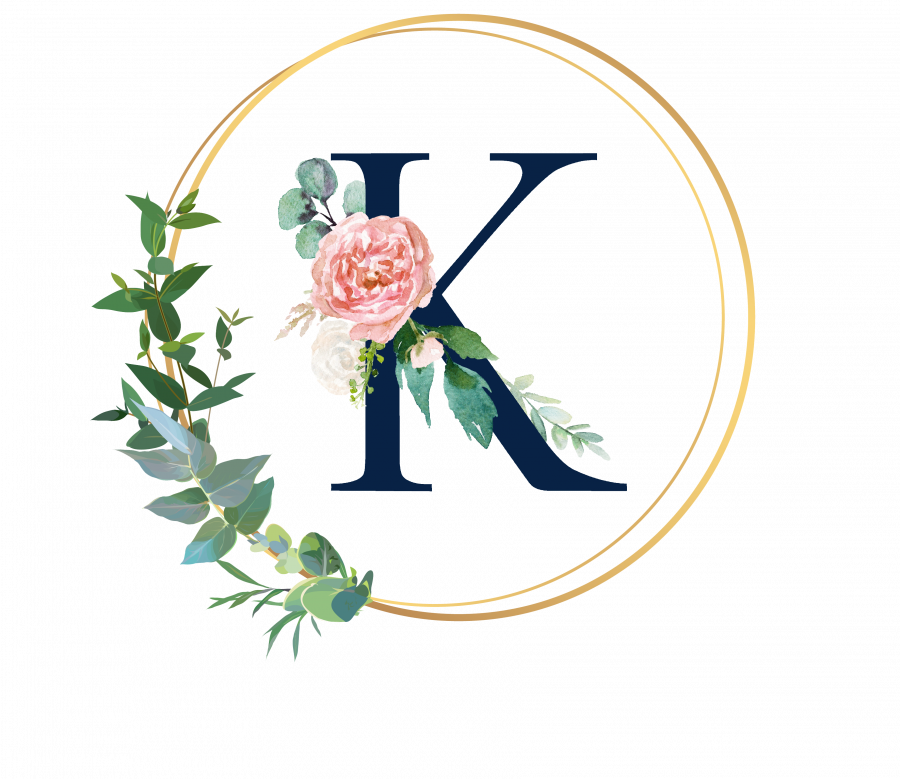 Bademantel Blumen Monogramm und Text - K