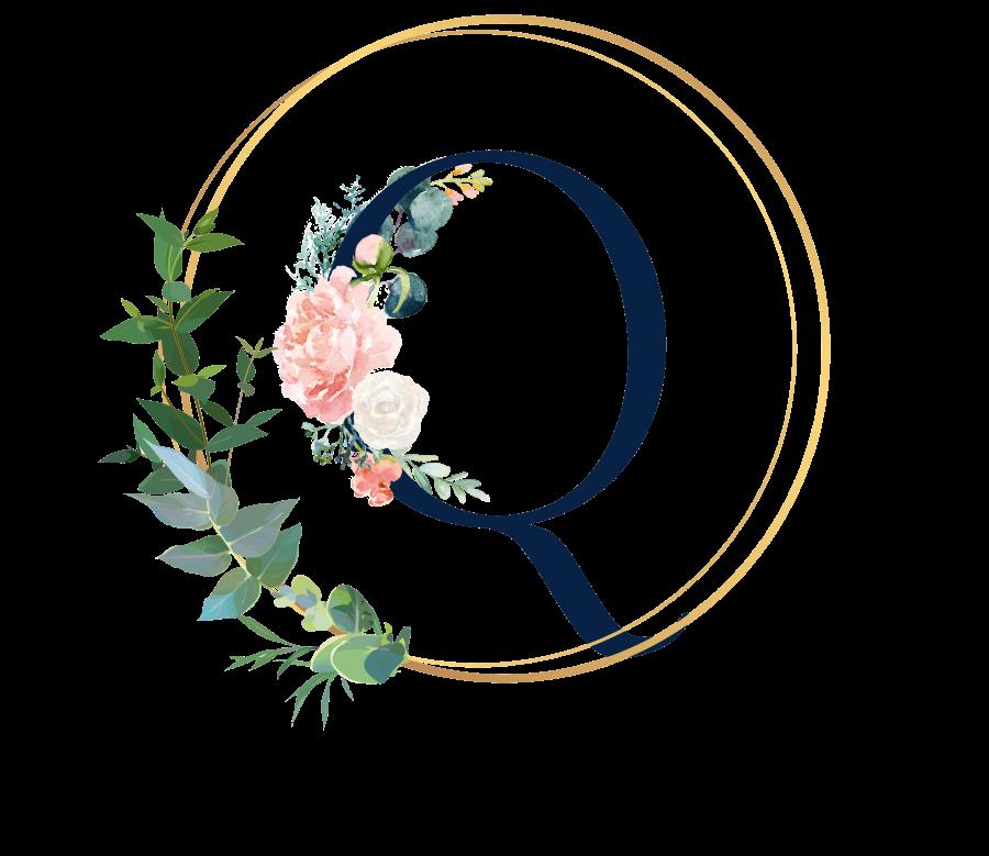 Bademantel Blumen Monogramm und Text - Q