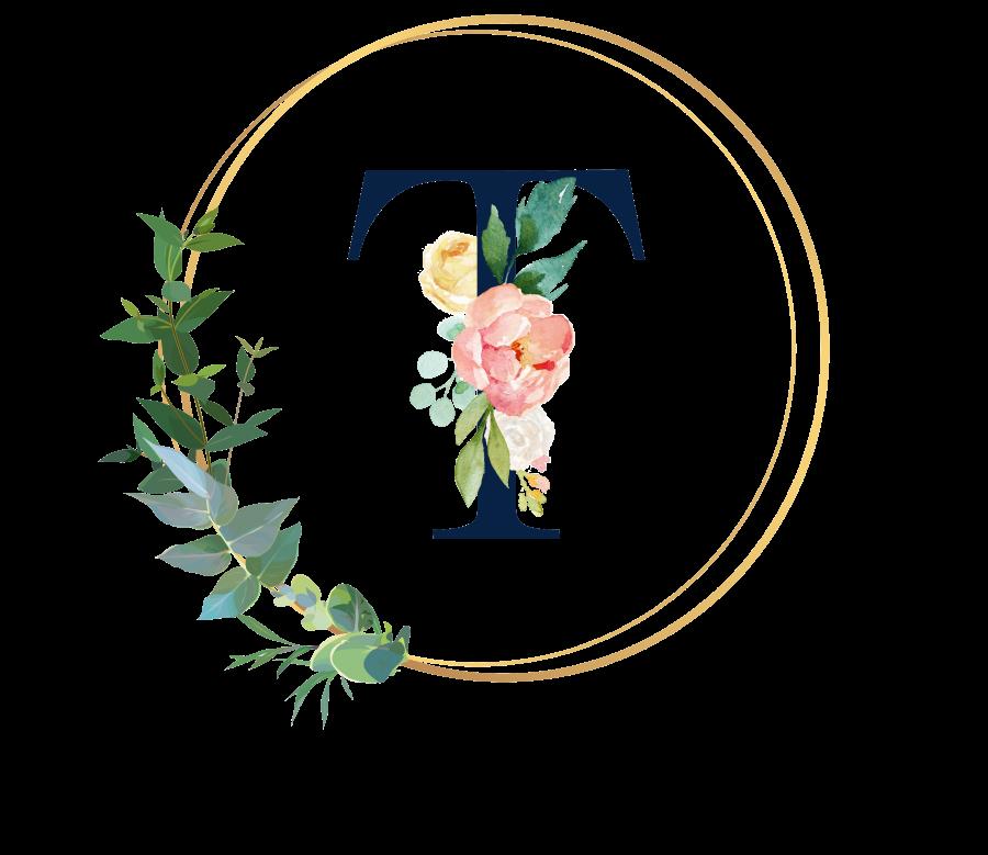 Bademantel Blumen Monogramm und Text - T