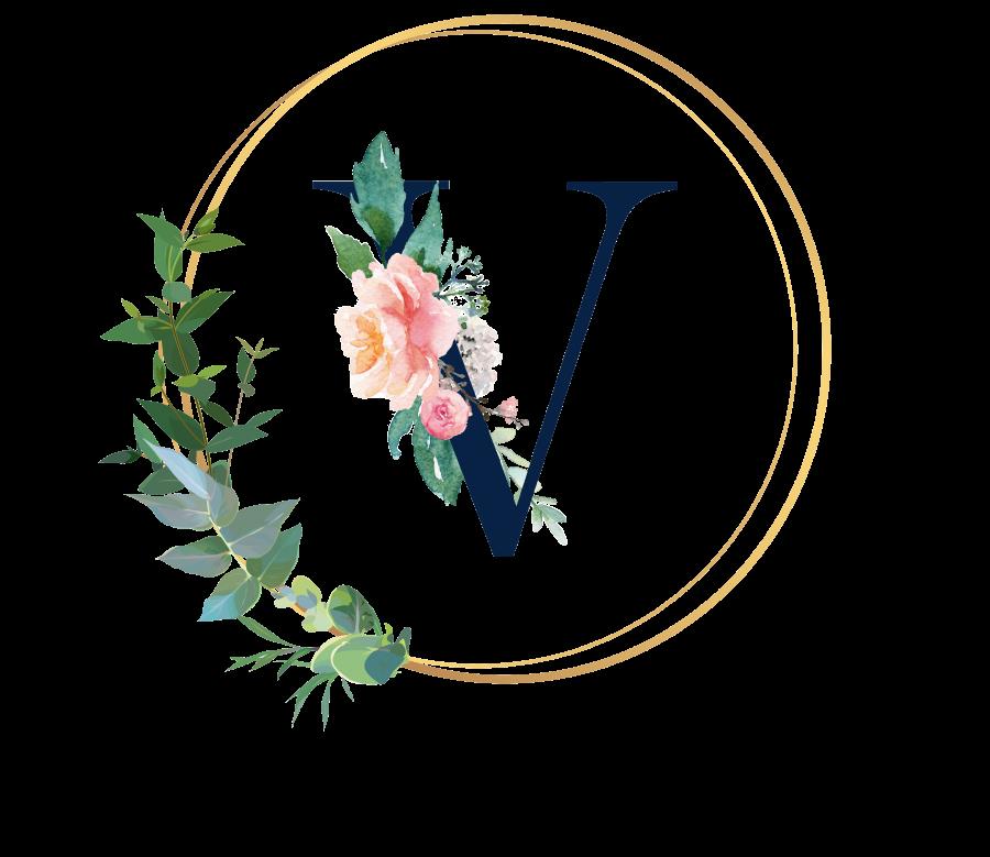 Bademantel Blumen Monogramm und Text - V