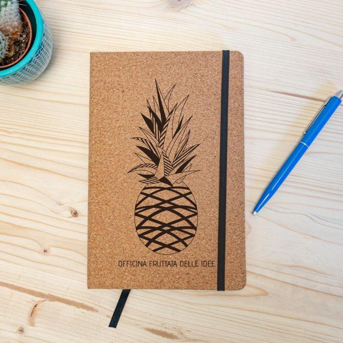 Notebook Personalizzabile in sughero – Ananas