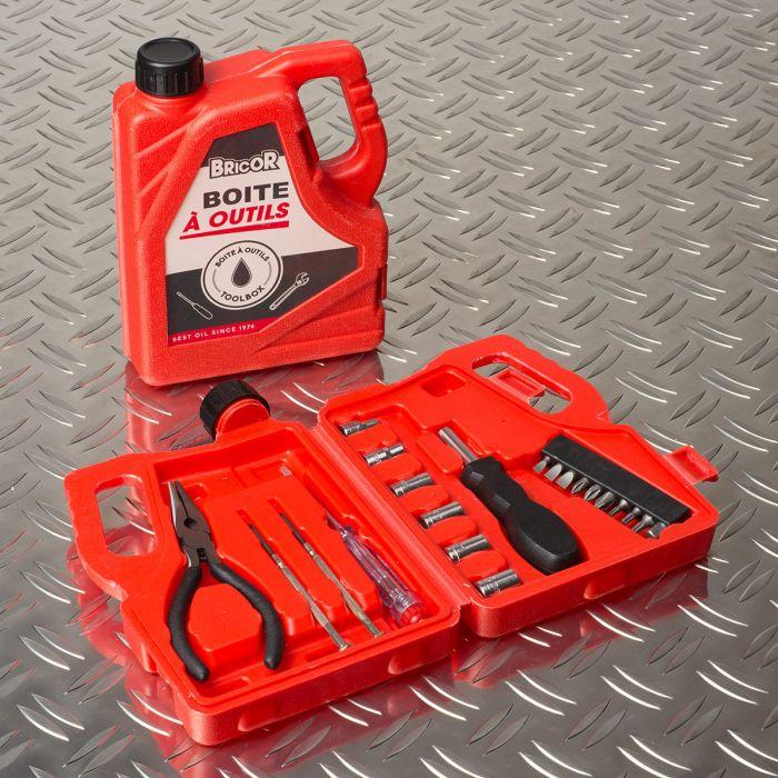 Cassetta degli attrezzi a forma di bottiglia olio per motore