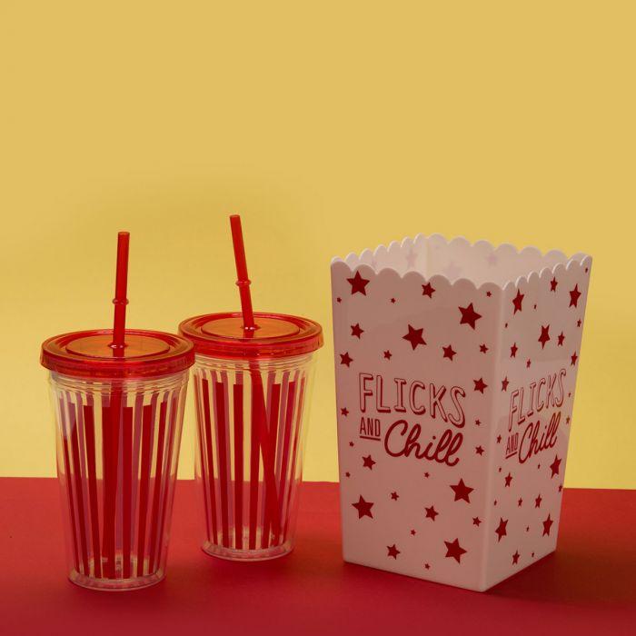 Kit Come al cinema - Scatola per popcorn e bicchieri per bibita