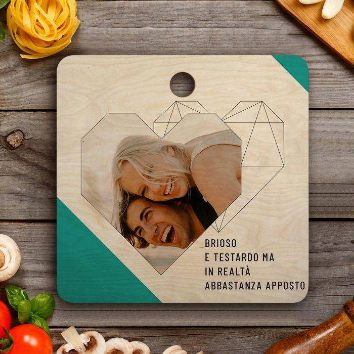 Tagliere Personalizzabile con foto, testo e cuore
