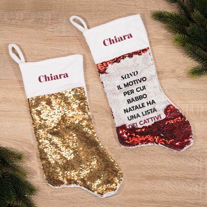 Calza di Natale con Paillettes e Testo