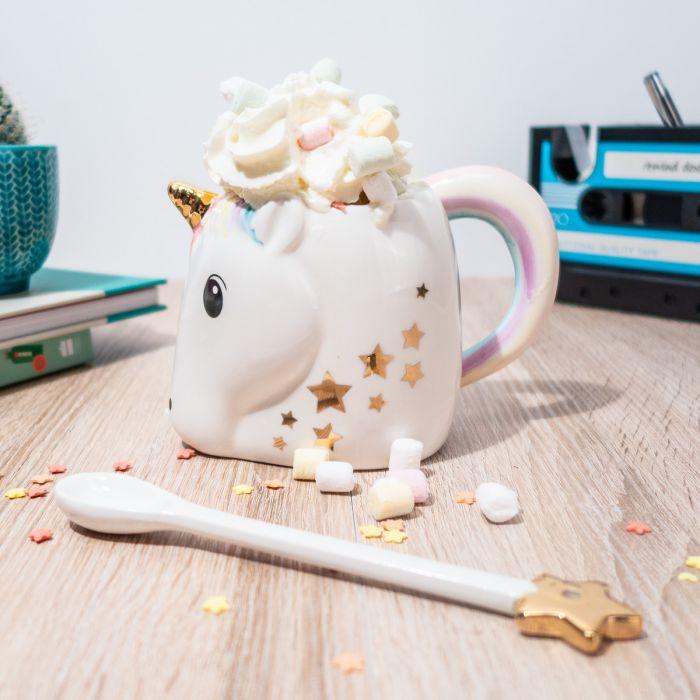 Tazza a Forma di Unicorno con Cucchiaio Bacchetta Magica