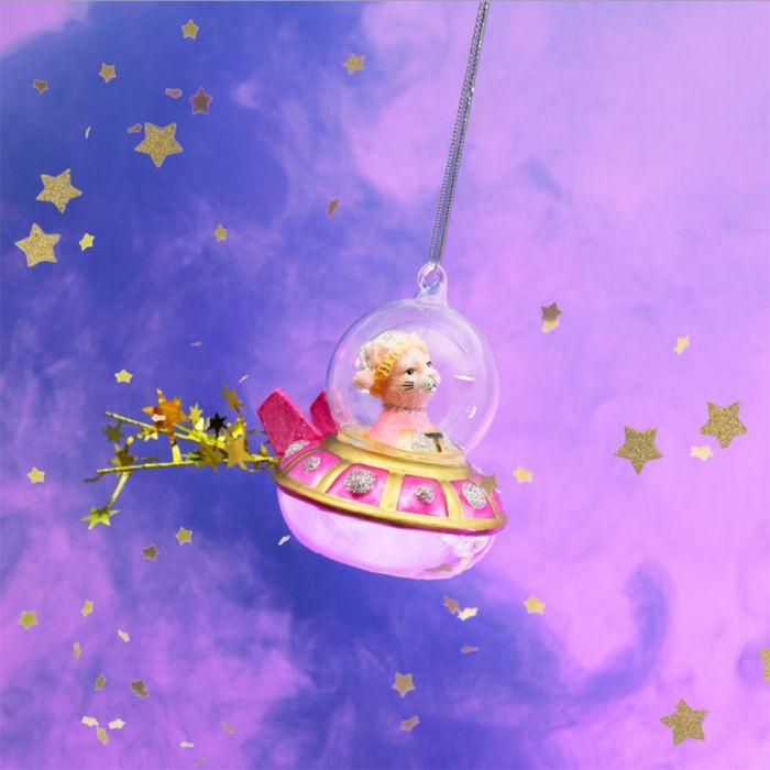 Palla di Natale Gatto in Navicella Spaziale