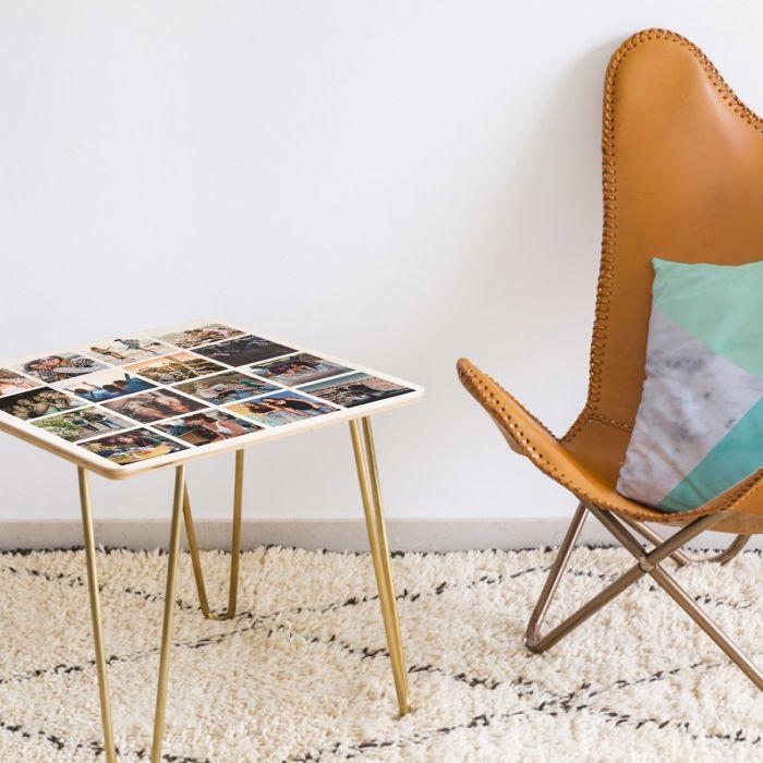 Tavolino in Legno Personalizzabile con 16 Foto