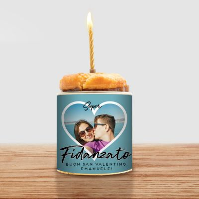 Torta in Lattina con Foto a forma di Cuore e Testo