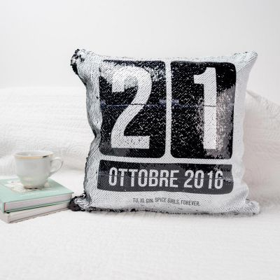 Federa con paillettes per cuscino con data personalizzabile