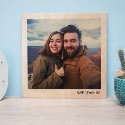Immagine su legno personalizzabile in stile Polaroid