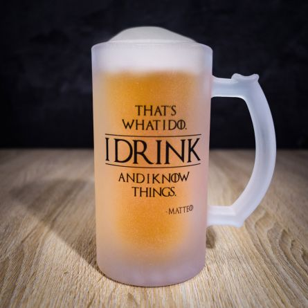 Boccale da birra personalizzabile I Know Things