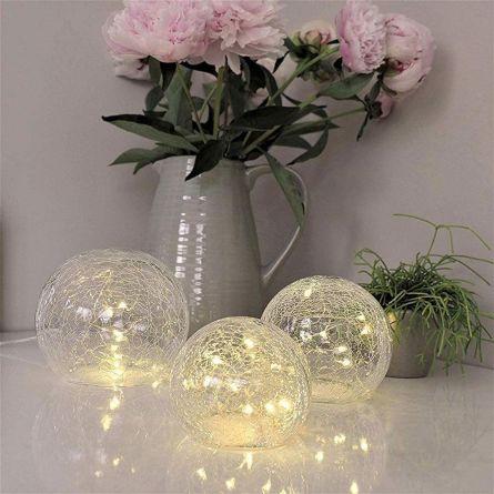 Set Luci LED con Palle in Vetro