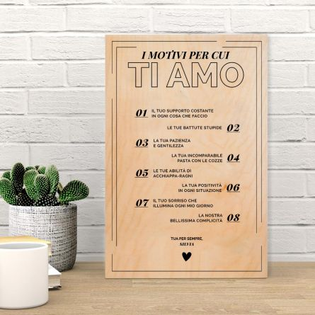 Quadro in legno personalizzabile Le Cose Che Amo Di XY