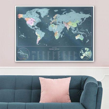 Cartina Geografica del Mondo Iridescente da Grattare