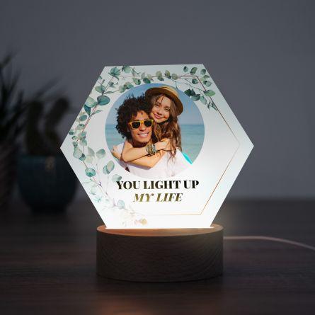 Lampada LED Foglie con Foto e Testo
