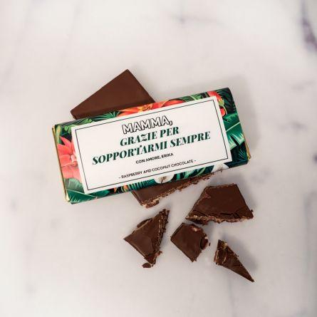 Cioccolata personalizzata con disegno floreale e testo